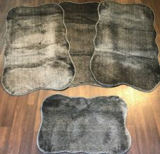 ROMANY WASHABLES TRAVELLER MATS SETS OF 4 NON SLIP TOURER SIZE THICK DARK GREY